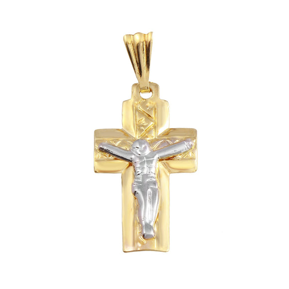18K Yellow Gold Crucifix Cross Medal Two Tone Small Pendant
