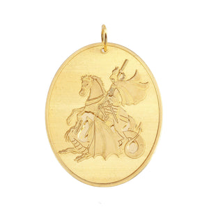18K Yellow Gold Laser Engraved Saint George Oval Pendant