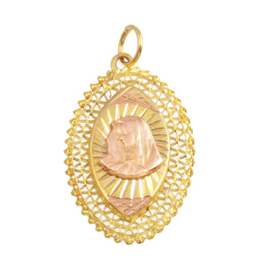 18K Yellow Gold Filigree Holy Mary Handmade Oval Pendant