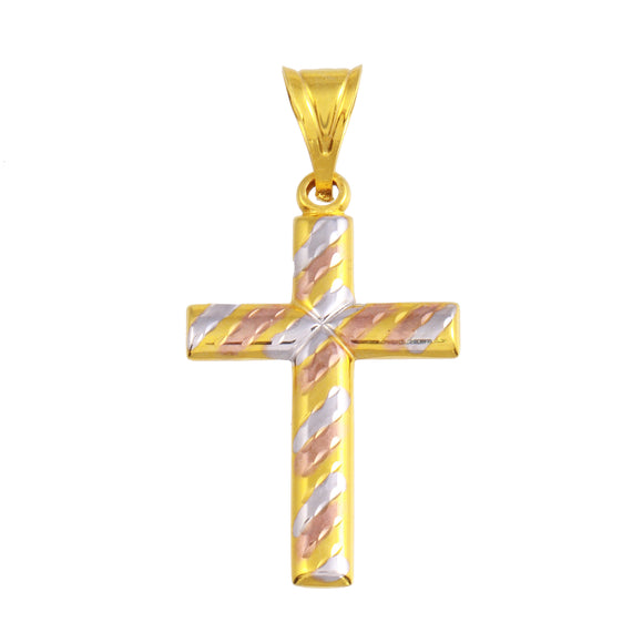 21K Yellow Gold Two Tone Cross Medal  Pendant
