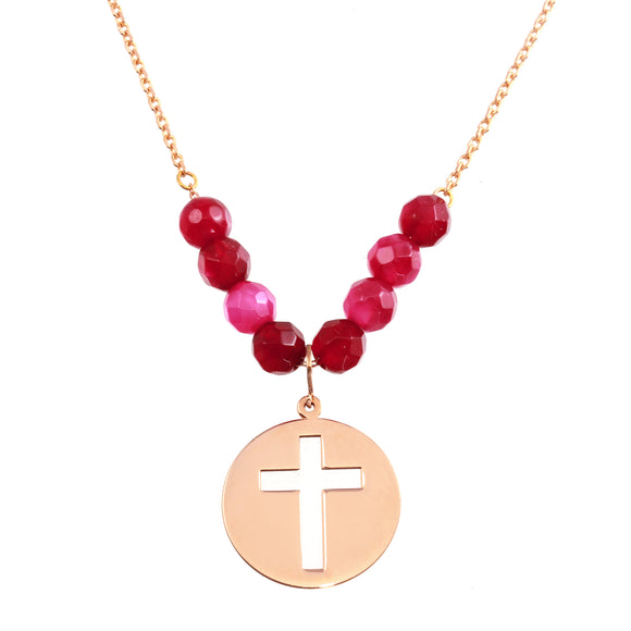 18K Solid Rose Gold Ruby Beads Cross Disk Chain Necklace