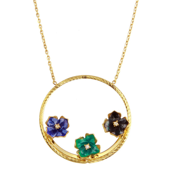 18K Yellow Gold Multicolor Flowers CZ Round Chain Necklace