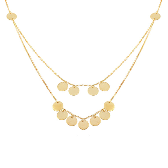18K Yellow Gold Disk Double Chain Necklace 16
