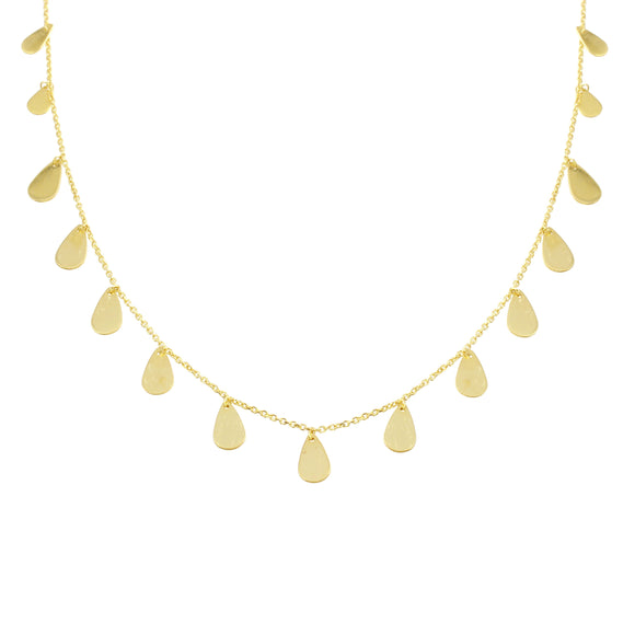 18K Yellow Gold Pear Dangling Chain Necklace 16