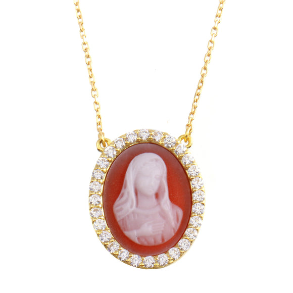 18K Yellow Gold CZ Oval Holy Mary  Chain Necklace 16