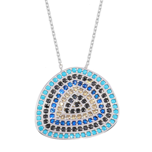 18K White Gold CZ Blue Evil Eye Chain Necklace