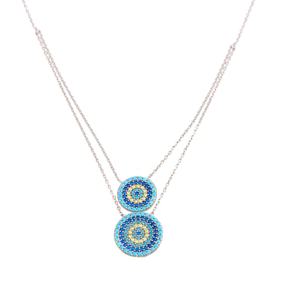 18K White Gold CZ Blue Double Evil Eye Chain Necklace