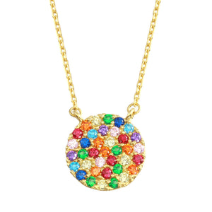 18K Yellow Gold Rainbow Multicolor CZ Round Chain Necklace