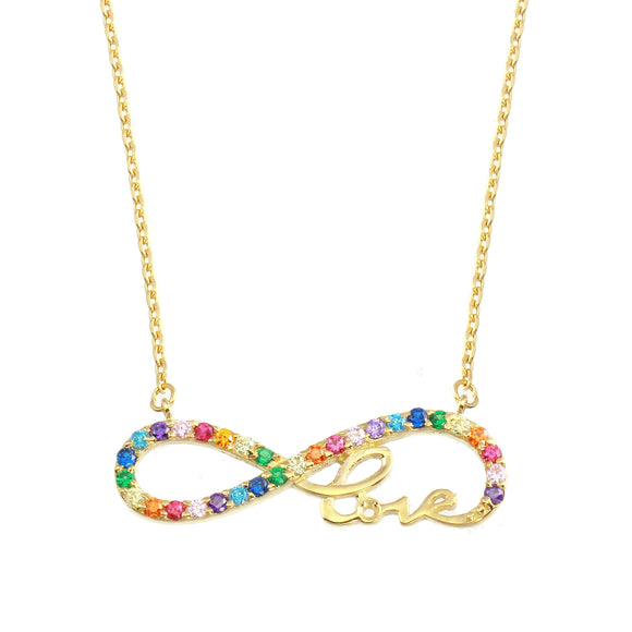 18K Yellow Gold Rainbow Multicolor CZ Infinity Love Chain Necklace