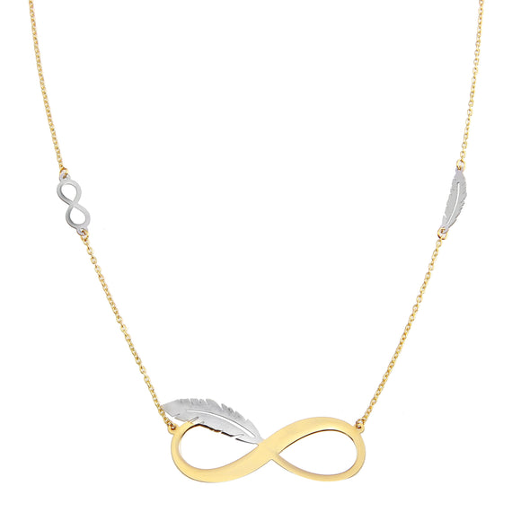 18K Yellow Gold Plain Two Tone Infinity Love Chain Necklace