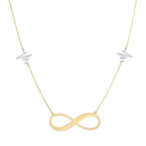 18K Yellow Gold Heart Beat Two Tone Infinity Love Chain Necklace