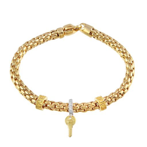 Women's 18K Solid Gold  Flexible Snake CZ Key Charm Bracelet