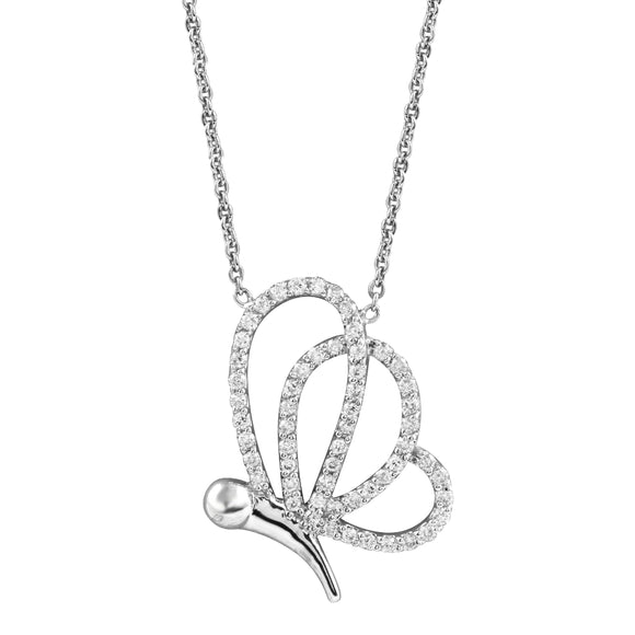 Diamond 18K White Gold Butterfly Chain Necklace