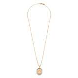 Diamond 18k Solid Rose Gold White Two Tone Miraculous Oval Holy Mary Chain Necklace