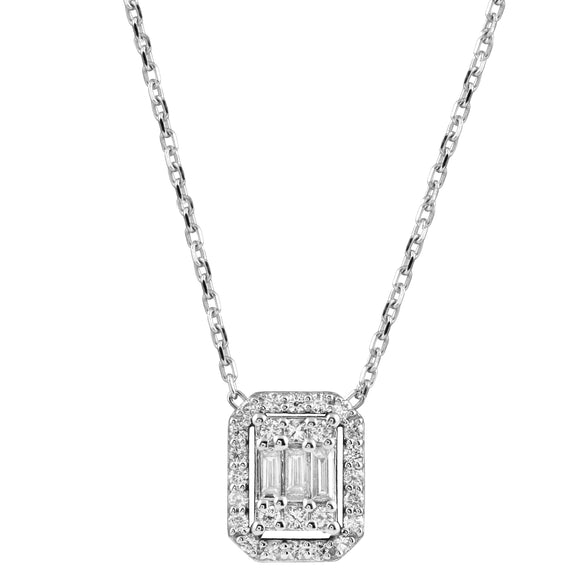 Diamond 18K White Gold Baguette Chain Necklace