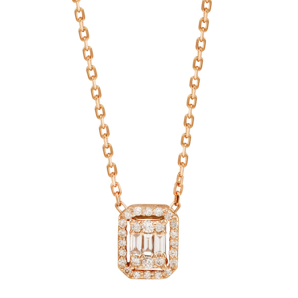 Diamond 18k Solid Rose Gold Baguette Chain Necklace