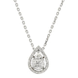 Diamond 18K White Gold Illusion Marquise Princess Pear Shape Chain Necklace