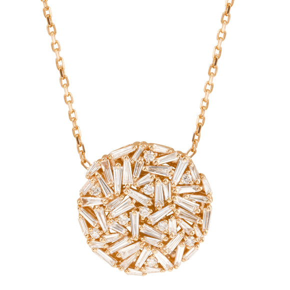 Diamond 18k Solid Rose Gold Baguette Round Chain Necklace