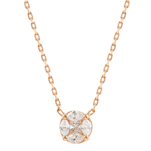 Diamond 18k Solid Rose Gold Illusion Marquise Chain Necklace