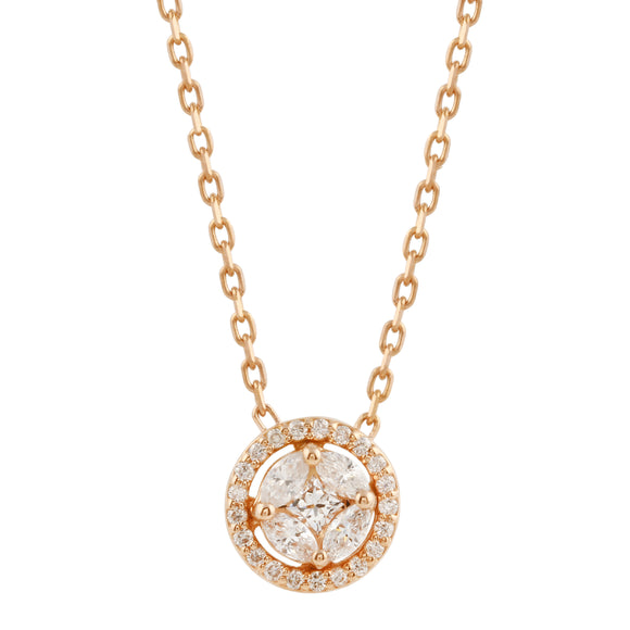 Diamond 18k Solid Rose Gold Illusion Marquise Round Chain Necklace