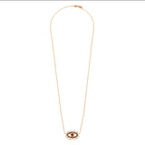 Diamond 18k Solid Rose Gold Ruby Black Baguette Eye Chain Necklace