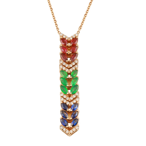 Diamond 18k Solid Rose Gold Ruby Sapphire Emerald Marquise Chain Necklace