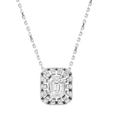 Diamond 18K White Gold Illusion Invisible Emerald CutChain Necklace