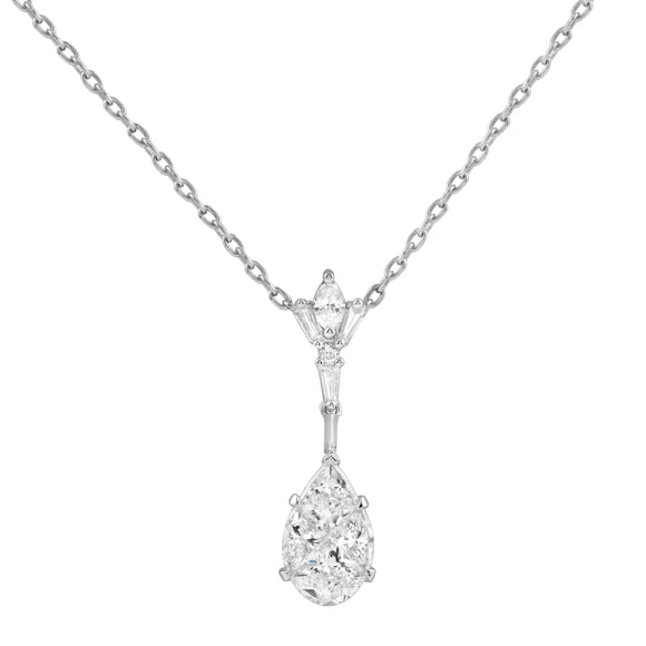 Diamond 18K White Gold Illusion Pear Shape Chain Necklace