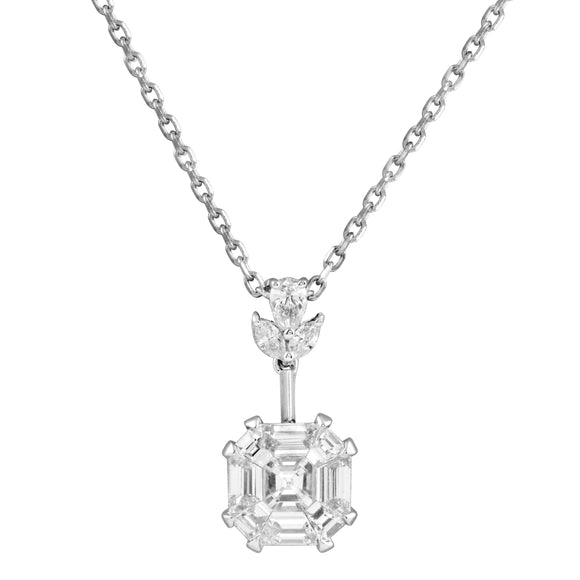 Diamond 18K White Gold Illusion Invisible Asscher Cut Chain Necklace