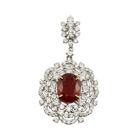 Diamond 18K White Gold Oval Ruby Pendant