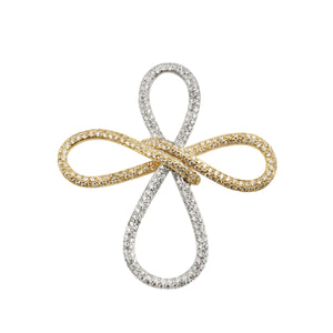 Diamond 18K White And Yellow Gold Cross Pendant