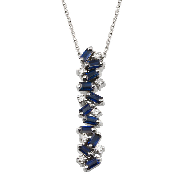 Diamond 18K White Gold Sapphire Baguette Chain Necklace