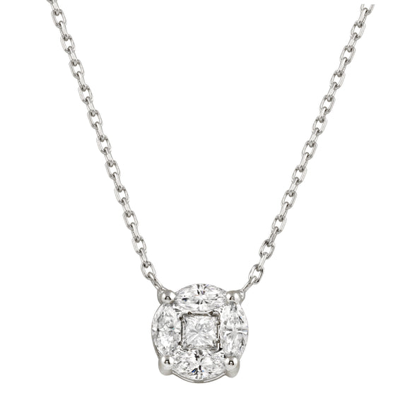 Diamond 18K White Gold Illusion Marquise Round Chain Necklace