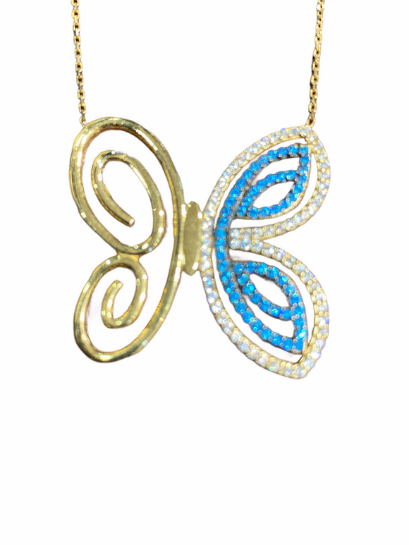 18K Yellow Gold CZ Blue Butterfly Necklace