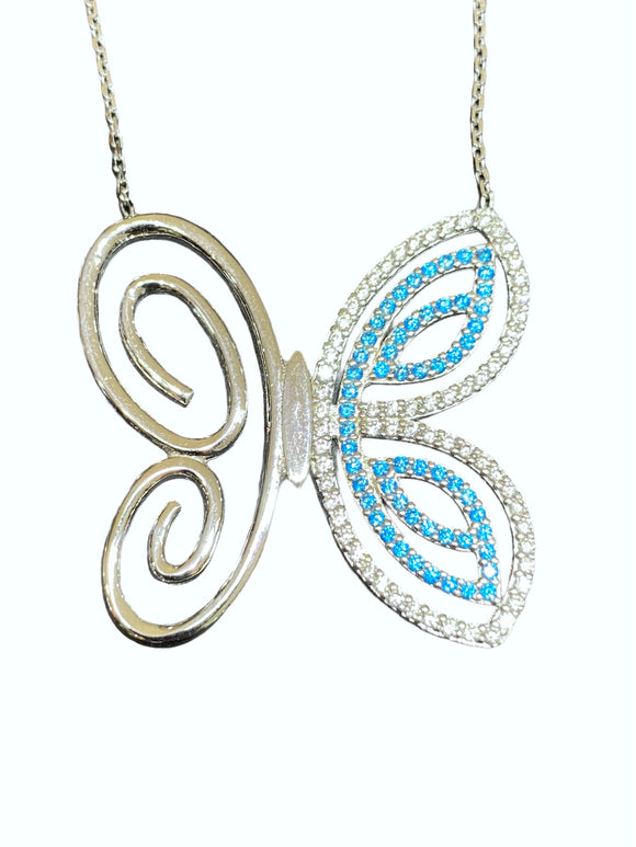 18K White Gold CZ Blue Butterfly Necklace
