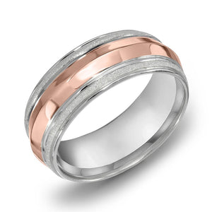 18k Gold Two Tone Rose Gold & WG Comfort fit 7mm Wedding Band Ring