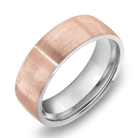 18k Gold Two Tone Rose Gold & Satin WG Comfort fit 6mm Wedding Band Ring