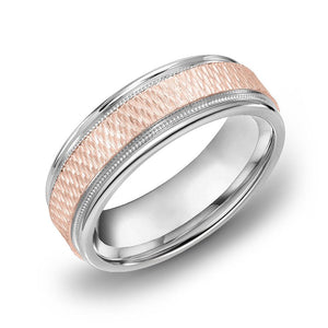 18k Gold Two Tone Rose Gold & Milgrain WG Comfort fit 7mm Wedding Band Ring