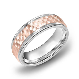 18k Gold Two Tone Rose Gold & WG Comfort fit 6mm Wedding Band Ring