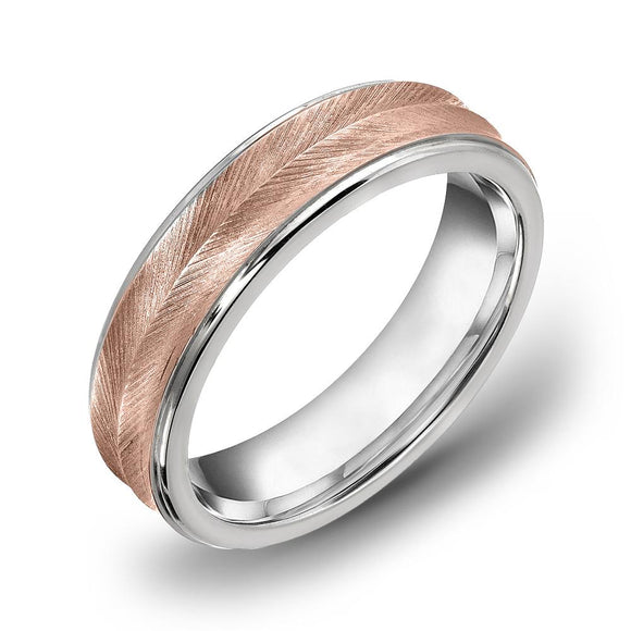 18k Gold Two Tone Rose Gold & WG Satin Comfort fit 6mm Wedding Band Ring