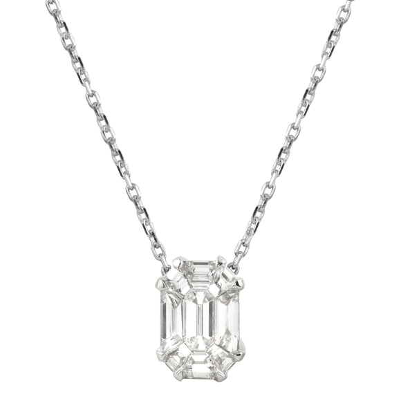 Diamond 18K White Gold Illusion Invisible Emerald Cut Chain Necklace
