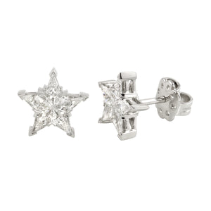 Diamond 18K White Gold Invisible Star Stud Earrings