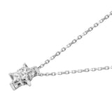 Diamond 18K White Gold Invisible Star Cut Chain Necklace