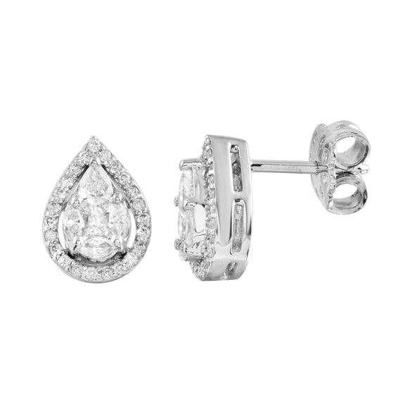 Diamond 18K White Gold Illusion Marquise Pear Shape Invisible Stud Earrings
