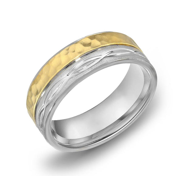 18k Gold Two Tone Yellow Gold & Satin WG Comfort fit 6mm Wedding Band Ring