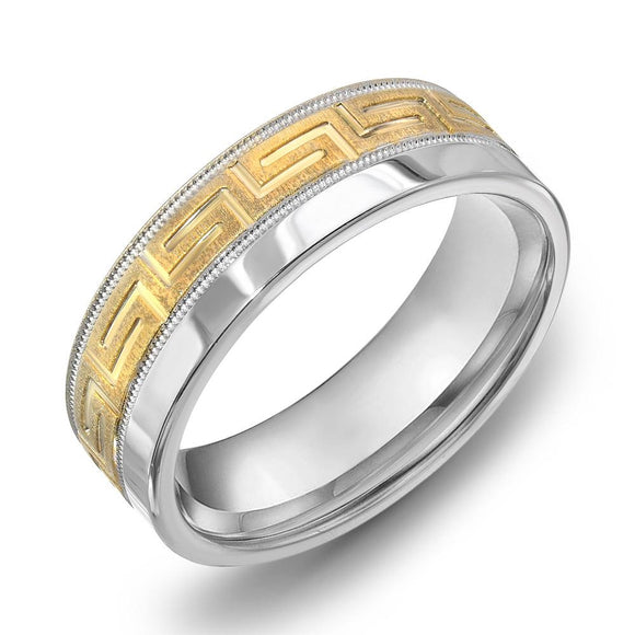 18k Gold Two Tone Yellow Gold & Milgrain WG Comfort fit 7mm Wedding Band Ring