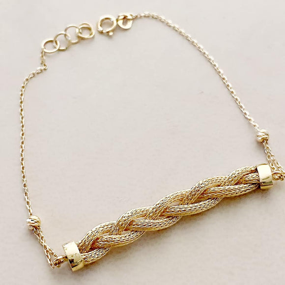 18K Yellow Gold Mesh Ball Chain Bracelet