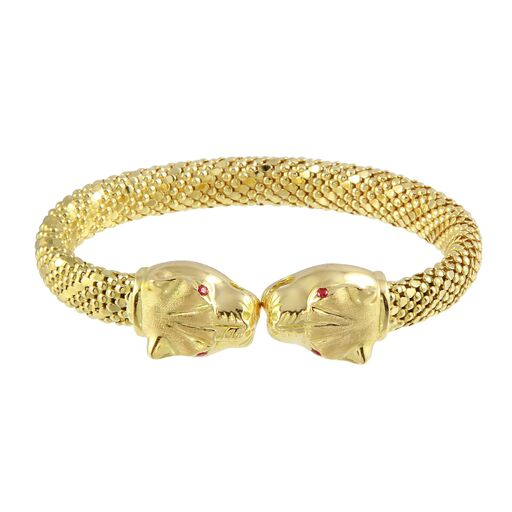 18K Solid Yellow Gold Panther Tiger Cuff Bracelet Adjustable