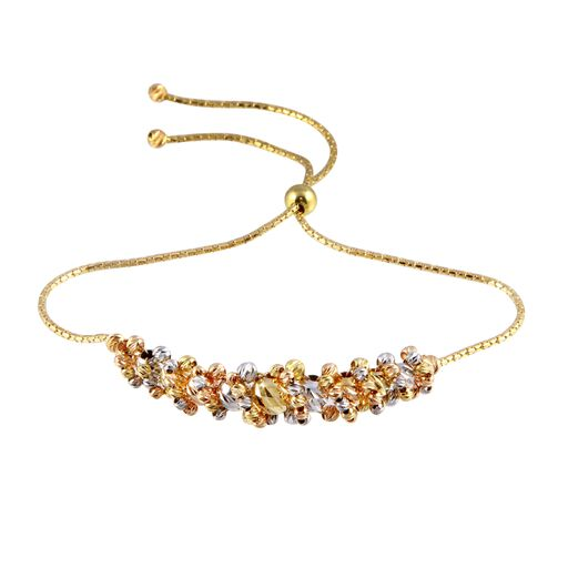 18K Gold Lariat Multi Color Diamind Cut Beads Bracelet Adjustable