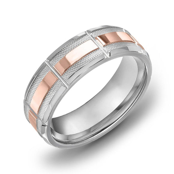 18k Gold Two Tone Rose Gold & DC WG Comfort fit 7mm Wedding Band Ring
